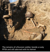 R.I.P comrade.: The remains of a Russian soldier, beside a rusty  PPSh and still adorned with his helmet R.I.P comrade.