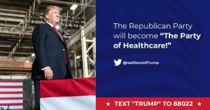 "The American people deserve a healthcare system that takes care of them – not one that takes advantage of them.: The Republican Party  will become ""The Party  of Healthcare!""  ta  @realDonaldTrump  ★ TEXT ""TRUMP"" TO 88022 ★ The American people deserve a healthcare system that takes care of them – not one that takes advantage of them."