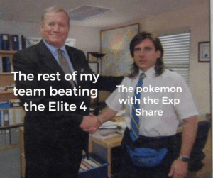 i dont belong: The rest of my  team beating  The pokemon  with the Exp  the Elite 4  Share i dont belong