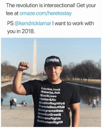 "Black Lives Matter, Memes, and Work: The revolution is intersectional! Get your  tee at omaze.com/heretostay  PS @kendricklamar I want to work with  you in 2018.  LovelsLove&  WaterlsLife&  BlackLives  Matter&No  MuslimRegistry&  TranslsBeautiful&  ImmigrantsMake  AmericaGreat&  omensRights  AreHumanRights To get your shirt see link in bio @undocumedia 👈🏾 👕 Repost @IvanCejatv: ✊🏾💯""Be proud of where you come from. Change the perspective. It's up to you. StraightOuttaCompton to Washington DC for the DreamAct "" Fun fact - @undocumedia was founded in Compton, California. . . Comment below 👇🏾 ""@kendricklamar collab with @undocumedia in 2018"" . . LoveIsLove WaterIsLife BlackLivesMatter BLM NoMuslimRegistry TransIsBeautiful ImmigrantsMakeAmericaGreat WomensRights HumanRights NoHumanBeingIsIllegal immigration HereToStay"
