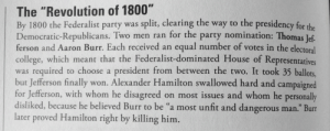 "pastelpeachpunk:  latinahermione:  mnemosyneforget:  The APUSH study guide has absolutely no chill.  @edotschuy  @awkwardangelshezza @moosewithashotgun : The ""Revolution of 1800""  By 1800 the Federalist party was split, clearing the way to the presidency for the  Democratic-Republicans. Two men ran for the party nomination: Thomas Jef  ferson and Aaron Burr. Each received an equal number of votes in the electoral  college, which meant that the Federalist-dominated House of Representatives  was required to choose a president from between the two. It took 35 ballots,  but Jefferson finally won. Alexander Hamilton swallowed hard and campaigned  for Jefferson, with whom he disagreed on most issues and whom he personally  disliked, because he believed Burr to be ""a most unfit and dangerous man."" Burr  later proved Hamilton right by killing him. pastelpeachpunk:  latinahermione:  mnemosyneforget:  The APUSH study guide has absolutely no chill.  @edotschuy  @awkwardangelshezza @moosewithashotgun"