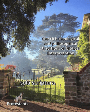Memes, 🤖, and Gate: the rich theological  and philosophical  traditions of B1blical  interpretation  Sola Sariptura  Protestants The dog is me... 33 years ago, when I somehow managed to slip through the gate. Soli Deo Gloria!