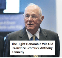 The man who enabled President Shitgibbon to nominate Judge Rapey whines about incivility.: The Right Honorable Vile Old  Ex-Justice Schmuck Anthony  Kennedy The man who enabled President Shitgibbon to nominate Judge Rapey whines about incivility.