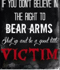THE RIGHT TO  BEAR ARMS  good Damn straight.