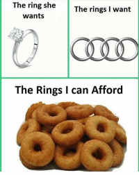 The Ring, Can, and Ring: The ring she  wants  The rings I want  The Rings I can Afford Pretty much.. 🤷♂️😂 https://t.co/4U39OogWcR