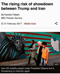 """America, Family, and Frozen: The rising risk of showdown  between Trump and Iran  By Kambiz Fattahi  BBC Persian Service  G 21 February 2017 Middle East  AFP  Iran-US hostility eased under President Obama but is  threatening to intensify again Are the US and Iran heading for a new confrontation? After a turbulent first three weeks in which President Donald Trump described Iran as """"the world's number one terrorist state"""" and put it """"on notice"""", it is a question many are asking. For Iranians with connections in the United States, these are worrying times. Of the seven majority Muslim countries named in President Trump's January travel ban (frozen pending a legal review), Iran is the one with the largest US-based diaspora, the most overseas students and the highest number of people travelling on visitor visas. After the ban was announced, BBC Persian received hundreds of messages from anxious Iranians whose lives have been plunged into uncertainty. They come from all walks of life - research students, LGBT (lesbian, gay, bisexual and transgender) refugees and grandparents on family visits - and many are worried the story is far from over. Edit Across the country people are asking themselves if he will really deliver on his promise to """"rip up"""" the 2015 Iran nuclear deal and """"triple-up"""" sanctions. And if the war of words between Washington and Tehran continues, what will the impact be on Iran's presidential elections this May?On the campaign trail Donald Trump dismissed the Iran nuclear deal as """"disastrous"""", but Iran experts say comments by his new Secretary of Defence James Mattis are probably the best indicator of what lies ahead. """"I think it is an imperfect arms control agreement,"""" Mr Mattis told a Senate committee in January. """"But when America gives her word, we have to live up to it."""" Edit If Mr Trump walks away he will risk alienating the European Union, the United Kingdom, France, Germany, China and Russia, which would make enforcing any new sanctions more difficu"""