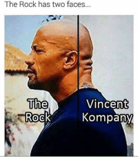 Classic 😂: The Rock has two faces.  The  Vincent  Kompany  Rock Classic 😂