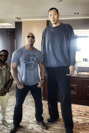 The Rock with the tallest guy and Kevin Hart: The Rock with the tallest guy and Kevin Hart