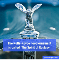 """That's one expensive spirit!: The Rolls-Royce hood ornament  is called """"The Spirit of Ecstasy'  ROLLS  @FACTS I guff com That's one expensive spirit!"""