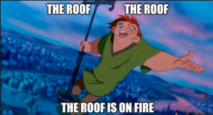 Fire, Memes, and 🤖: THE ROOF  THE ROOF  THE ROOFIS ON FIRE DV6