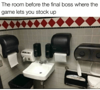 "<p>Stocking up beforehand via /r/memes <a href=""http://ift.tt/2FI6AVl"">http://ift.tt/2FI6AVl</a></p>: The room before the final boss where the  game lets you stock up <p>Stocking up beforehand via /r/memes <a href=""http://ift.tt/2FI6AVl"">http://ift.tt/2FI6AVl</a></p>"