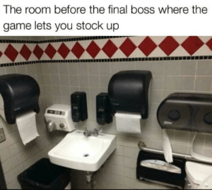 Final Boss, The Game, and Game: The room before the final boss where the  game lets you stock up Stock up bois (i.redd.it)