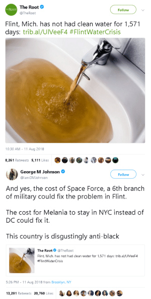 gahdamnpunk:Priorities: The Root  THE ROOT  Follow  @TheRoot  Flint, Mich. has not had clean water for 1,571  days: tribal/UiveeF4 #FlintWaterCrisis  10:30 AM - 11 Aug 2018  8,261 Retweets 5,111 Likes   George M Johnson  @lam GMJohnson  Follow  And yes, the cost of Space Force, a 6th branch  of military could fix the problem in Flint.  The cost for Melania to stay in NYC instead of  DC could fix it.  This country is disqustingly anti-black  The Root@TheRoot  Flint Mich. has not had clean water for 1,571 days: trib.al/UlVeeF4  #FlintwaterCrisis  5:26 PM -11 Aug 2018 from Brooklyn, NY  13,291 Retweets 20.760 Likes  4G鹤 gahdamnpunk:Priorities