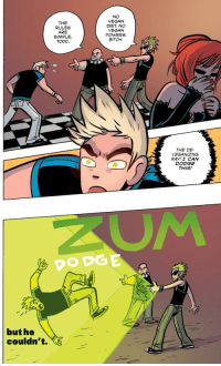 """comicparanoia:  Scott Pilgrim Color#3  """"Scott Pilgrim  the Infinite Sadness"""" by Bryan Lee O'Malley released by Oni Press on May 2013 : THE  RULES  ARE  SIMPLE,  TODD.  NO  VEGAN  DIET, NO  VEGAN  POWERS,  BITCH.  THE DE-  VEGANIZING  RAY! I CAN  DODGE  THIS!   DODGE  but he  couldn't. comicparanoia:  Scott Pilgrim Color#3  """"Scott Pilgrim  the Infinite Sadness"""" by Bryan Lee O'Malley released by Oni Press on May 2013"""