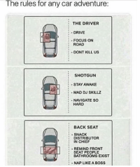 Drive, Focus, and Mad: The rules for any car adventure:  THE DRIVER  DRIVE  FOCUS ON  ROAD  -DONT KILL US  SHOTGUN  STAY AWAKE  :MAD DJ SKILLZ  :-NAVIGATE SO  HARD  :BACK SEAT  SNACK  DISTRIBUTOR  IN CHIEF  SEAT PEOPLE  NAP LIKE A BOSS  :-REMIND FRONT  :BATHROOMS EXIST