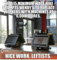 Wendys response: This is what entry level jobs look like on a $15 MinimumWage…: THE S15 MINIMUMWAGE HIKE  PROMPTS WENDY ISTOREPLACE  WORKERS WITH MACHINESATE  6,0001STORES  LABS  TURNIN  POINT USA  NICE WORK, LEFTISTS Wendys response: This is what entry level jobs look like on a $15 MinimumWage…