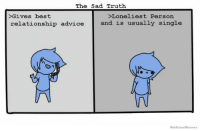 We Know Meme: The Sad Truth  >Gives best  >Loneliest Persorn  and is usually single  relationship advice  We Know Meme