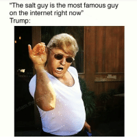 "Most Famous: ""The salt guy is the most famous guy  on the internet right now""  Trump"
