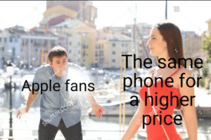 "Apple, Jealous, and Reddit: The same  Apple fanshne fo  a higher  price btw this is the same ""jealous girlfriend looking back"" guy"