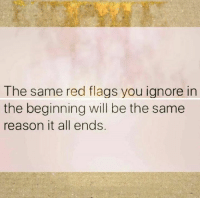 Reason, Red, and Flags: The same red flags you ignore in  the beginning will be the same  reason it all ends.