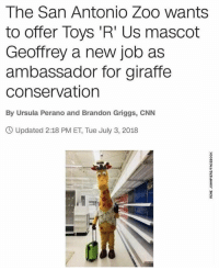 https://t.co/jJj3zNVgfV: The San Antonio Zoo wants  to offer Toys 'R' Us mascot  Geoffrey a new job as  ambassador for giraffe  conservation  By Ursula Perano and Brandon Griggs, CNN  O Updated 2:18 PM ET, Tue July 3, 2018 https://t.co/jJj3zNVgfV