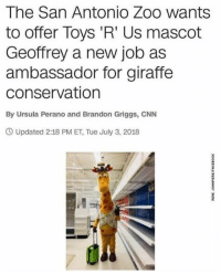 San Antonio: The San Antonio Zoo wants  to offer Toys 'R' Us mascot  Geoffrey a new job as  ambassador for giraffe  conservation  By Ursula Perano and Brandon Griggs, CNN  Updated 2:18 PM ET, Tue July 3, 2018