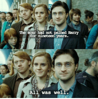 Memes, 🤖, and Harry: The scar had not pained Harry  for nineteen  years  All was well.  TDP Name a Spell in the comments! - Via: @thedailypotterr