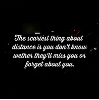 The scariest thing about  distance you dontknow  uether they miss you or  Forget about you So true...♥ • • I'm back guys!! Sorry that I have been gone for so long!!💖