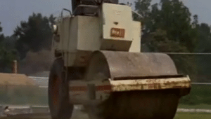 The scene where a girl gets run over by a road roller in Maximum Overdrive (1986) is an allusion to the popular anime series JoJo's Bizarre Adventure: Stardust Crusaders, referencing a scene where the main villain Dio Brando tries to crush Jotaro Kujo with a road roller during their final duel.: The scene where a girl gets run over by a road roller in Maximum Overdrive (1986) is an allusion to the popular anime series JoJo's Bizarre Adventure: Stardust Crusaders, referencing a scene where the main villain Dio Brando tries to crush Jotaro Kujo with a road roller during their final duel.