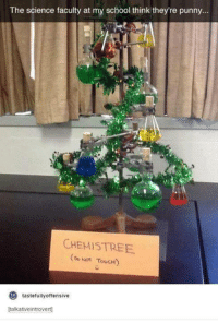 Punnies: The science faculty at my school think they're punny...  CHEMISTREE  Do TouCH)  tastefully offensive  to  talkativeintrovertj