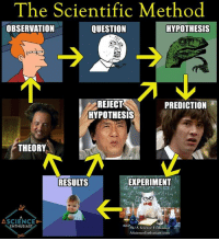 Memes, 🤖, and Scientific Method: The Scientific Method  OBSERVATION  HYPOTHESIS  QUESTION  REJECT  PREDICTION  HYPOTHESIS  THEORY  EXPERIMENT  RESUITS  ASCIENCED-  NTHUSIAST  Fb/A Science Enthusiast  AScience Enthusiast com The scientific method flow as told by memes.  Via: A Science Enthusiast