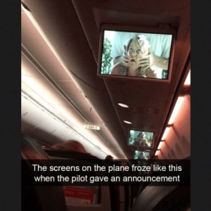 Tumblr, Announcement, and Com: The screens on the plane froze like this  when the pilot gave an announcement Submitted by:kipisstillhere