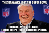 Thanks for the clarification Madden! Credit: Detroit Lions Memes: THE SEAHAWKS LOSTTHE SUPER BOWL  @NE  BECAUSE WHENTHE GAME  ENDED, THE PATRIOTS HAD MORE POINTS Thanks for the clarification Madden! Credit: Detroit Lions Memes