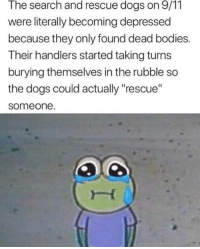 "Wholesome handlers via /r/wholesomememes https://ift.tt/2GAt3b3: The search and rescue dogs on 9/11  were literally becoming depressed  because they only found dead bodies.  Their handlers started taking turns  burying themselves in the rubble so  the dogs could actually ""rescue""  someone Wholesome handlers via /r/wholesomememes https://ift.tt/2GAt3b3"