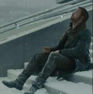 The seaside climax of Blade Runner 2049 leaves salt stains from the dried saltwater on his pants.: The seaside climax of Blade Runner 2049 leaves salt stains from the dried saltwater on his pants.