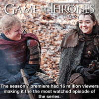 Hbo, Memes, and Beats: The season 7 premiere had 16 million viewers  making it the the most watched episode of  the series This beats last seasons finale! I don't get why people were annoyed about Ed's cameo. He's not the first musician to make an appearance and I doubt he will be the last. • • gameofthrones aryastark edsheeran divide gameofthronesfamily gameofthroneshbo gameofthronesseason7 hbo jonsnow cerseilannister sansastark khaleesi arya tv