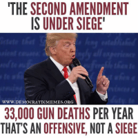 "Trump's dangerous rhetoric on guns is flat out fear-mongering, it's also factually inaccurate! ""Share"" if you agree!: THE SECOND AMENDMENT  IS UNDER SIEGE'  WWW. DEMOCRATIC MEMES ORG  33,000 GUN DEATHS PER YEAR  THATS AN OFFENSIVE, NOT A SIEGE Trump's dangerous rhetoric on guns is flat out fear-mongering, it's also factually inaccurate! ""Share"" if you agree!"