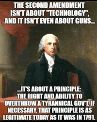 "Guns, Memes, and Technology: THE SECOND AMENDMENT  ISNT ABOUT ""TECHNOLOGY  AND IT ISNT EVEN ABOUT GUNS  ITSABOUT A PRINCIPLE  THE RIGHT AND ABILITY TO  OVERTHROW A TYRANNICAL GOV IF  NECESSARY. THAT PRINCIPLE IS AS  LEGITIMATE TODAY AS IT WAS IN 1791 Never Give Up Your Firearms!!!!"