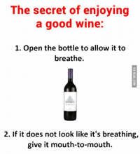 Dank, 🤖, and Secret: The secret of enjoying  a good wine:  1. Open the bottle to allow it to  breathe.  2. If it does not look like it's breathing,  give it mouth-to-mouth. The secret of enjoying a good wine http://9gag.com/gag/ay5d9oY?ref=fbp  More fun on Android: http://9gag.com/android and iPhone/iPod/iPad: http://9gag.com/iphone