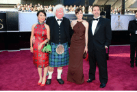 Seth Macfarlane's dad at the Oscars... with his date Asian reporter Trisha Takanawa: THE Seth Macfarlane's dad at the Oscars... with his date Asian reporter Trisha Takanawa