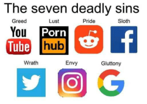 Porn, Sloth, and Tube: The seven deadly sins  Greed  Lust  Pride  Sloth  You Porn  Tube hub  f  Wrath  Envy  Gluttony The seven deadly sins