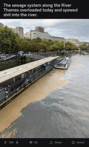 Forbidden chocolate shake: The sewage system along the River  Thames overloaded today and spewed  shit into the river.  395  83  Share  Award Forbidden chocolate shake
