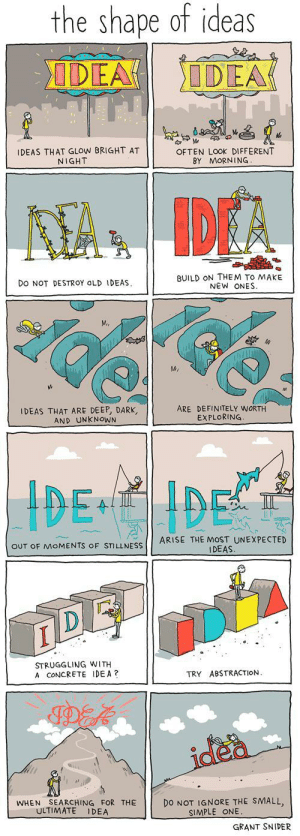 How to find inspiration: the shape of ideas  DEA  IDEA  IDEAS THAT GLOW BRIGHT AT  NIGHT  OFTEN LOOK DIFFERENT  BY MORNING  AA IDEA  BUILD ON THEM TO MAKE  NEW ONES  DO NOT DESTROY OLD IDEAS  MA  IDEAS THAT ARE DEEP, DARK,  AND UNKNOWN  ARE DEFINITELY WORTH  EXPLORING  IDE IDE  ARISE THE MOST UNEXPECTED  IDEAS.  OUT OF MOMENTS OF STILLNESS  STRUGGLING WITH  A CONCRETE IDEA?  ABSTRACTION.  TRY  idea  DO NOT IGNORE THE SMALL,  SIMPLE ONE.  SEARCHING FOR THE  ULTIMATE  WHEN  IDEA  GRANT SNIDER How to find inspiration