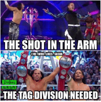 Memes, Wrestling, and World Wrestling Entertainment: THE SHOT IN THE ARM  @HEI WHOI LIKES SASHA  Dukes  THE TAGDIVISION.NEEDED What an amazing moment!!! So happy they're back where they belong and they're truly what the tag division needed. The titles are finally back in good hands. wwe wwememe wwememes hardyboyz jeffhardy matthardy tagteam enzoandcass theclub sheamus cesaro wrestler wrestling wrestlemania wrestlemania33 wrestlingmemes prowrestling professionalwrestling wwehof worldwrestlingentertainment wweuniverse wwenetwork wwesuperstars raw wweraw smackdown smackdownlive sdlive nxt mondaynightraw
