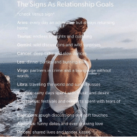 These are goals to live up to!: The Signs As Relationship Goals  check Venus sign  Aries: every day an ad  ventüne but al  ling  Taurus: endless t  Gemini: wild discus  Cancer: deep talk  Leo: dinner parties and burning lov  Virgo: partners in crime and a launga uge without  ghts and cu  ons and wild  surprises  low dances  words  Libra: traveling the world and sun et Kisses  eotpios rainy days sp  usic and desire  ttarius: festivals and concerts spent with tears of  Capricorn: ough discussion  s anoft touches  quanus: funny dates and ever growing love  isces: shared lives and tender kisses These are goals to live up to!