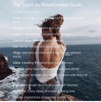 These are such goals!: The Signs As Relationship Goals  check Venus sign  Aries: every day an ad  but al  ome  Taurus: endless t  Gemini: wild discuss  Cancer: deep talks  Leo: dinner parties and burning lo  Virgo: partners in crime and a laung uge without  ghts and cu  ons and wild  surprises  slow dance  words  Libra: traveling the world and sun et kisses  cotpios rainy days sp  th usic and desire  gittarius: festivals and con  certs spent with tears of  Capricorn: tough discussion  ft touches  uaras: funny dates and ever growing love  es; shared lives andende kissés These are such goals!
