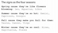 Memes, 🤖, and Four Seasons: The signs as the four seasons  Spring cause they're like flowers  blooming: Leo, Aquarius  Libra  Summer cause they're so hot.  Gemini,  Capricorn  Scorpio  Fall cause they make you fall for them:  Taurus, Cancer  Virgo  Winter cause they're so cool Aires,  Sagittarius  Pisces Four seasons!