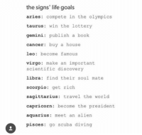 Goals, Life, and Lottery: the signs' life goals  aries compete in the olympics  taurus win the lottery  gemini publish a book  cancer: buy a house  leo become famous  virgo make an important  scientific discovery  libra find their soul mate  scorpio: get rich.  sagittarius travel the world  capricorn become the president  aquarius: meet an alien  s go scuba diving