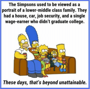 Simpsons are rich: The Simpsons used to be viewed as a  portrait of a lower-middle class family. They  had a house, car, job security, and a single  wage-earner who didn't graduate college.  These days, that's beyond unattainable. Simpsons are rich