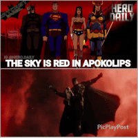 For those of you wondering why there is a red tint in this trailer, the sky on the planet Apokolips is red.you can see this in the movie Superman-Batman: Apocalypse. So they could either be on Apokolips or maybe Steppenwolf is somehow merging Apokolips with Earth's atmosphere. justiceleague justiceleaguetrailer dceu dc batman wonderwoman sdcc aquaman flash cyborg: THE SKY ISRE IN APOKOLIPS  PicPlayPost For those of you wondering why there is a red tint in this trailer, the sky on the planet Apokolips is red.you can see this in the movie Superman-Batman: Apocalypse. So they could either be on Apokolips or maybe Steppenwolf is somehow merging Apokolips with Earth's atmosphere. justiceleague justiceleaguetrailer dceu dc batman wonderwoman sdcc aquaman flash cyborg